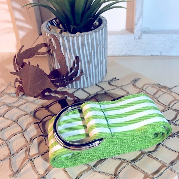 "Ralph Lauren -26"" Striped Green & White Sm Belt"